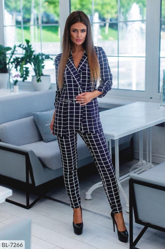 Женский летний брючный костюм, пиджак и брюки, повседневный, офисный, прогулочный, фото 1