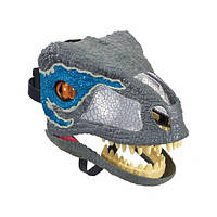 Jurassic World Интерактивная маска динозавра Велоцираптор FMB74 Chomp 'N Roar Mask Velociraptor blue