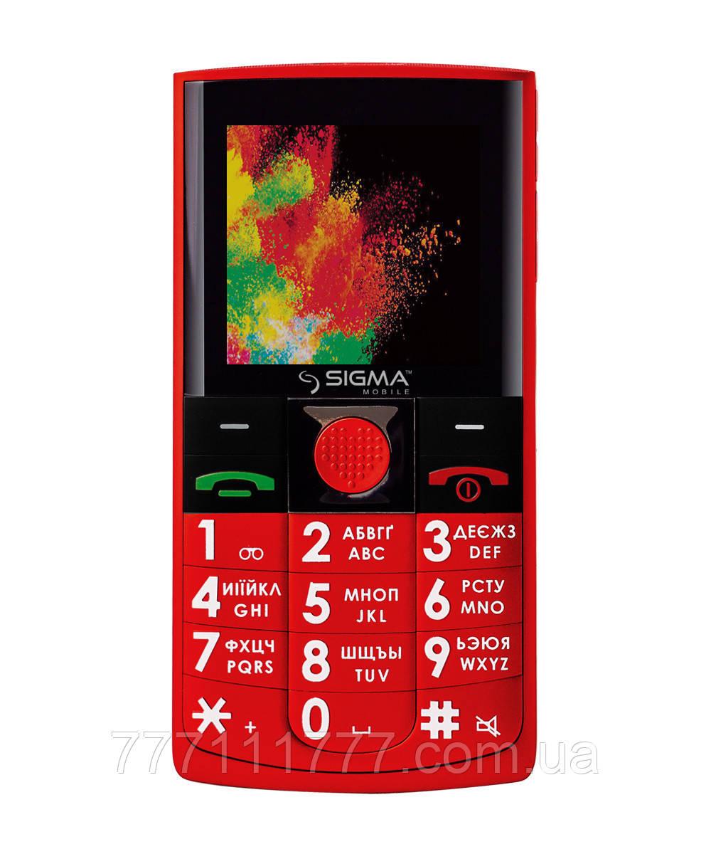 Телефон кнопочный сигма бабушкофон с большим экраном и удобными кнопками Sigma Comfort 50 SOLO DS Red