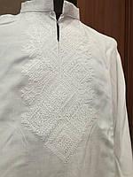 Детская белая хлопковая рубашка для мальчика с белой вышивкой Семейная традиция Piccolo L