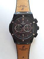 Механические часы в стиле HUBLOT - Automatic с автозаводом, каучуковый черный ремешок, сапфировое стекло, AAA, коричневый ремешок, серебристый
