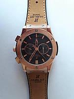 Механические часы в стиле HUBLOT - Automatic с автозаводом, сапфировое стекло, AAA,золотисто-черный циферблат с коричневым ремешком