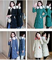 Стильное женское пальто пуховик с цветным мехом на капюшоне, фото 1