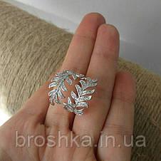 Массивное кольцо перо ювелирная бижутерия в белом покрытии, фото 3