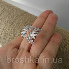 Массивное кольцо перо ювелирная бижутерия в белом покрытии, фото 2