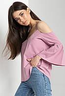 Пудровая блуза-топ VITA с открытыми плечами и воланами на рукавах