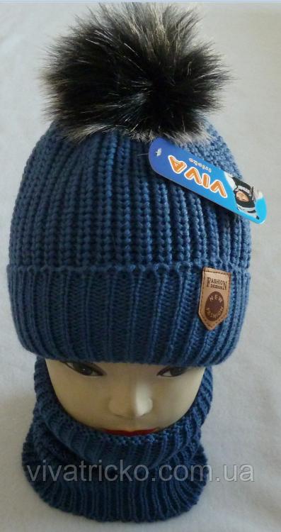 М 6070 Комплект для мальчика:шапка+манишка, акрил, флис, разные цвета