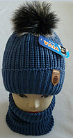 М 6070 Комплект для мальчика:шапка+манишка, акрил, флис, разные цвета, фото 1
