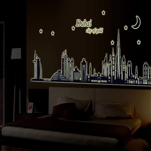 """Наклейки в офіс, кабінет, в школу """"Нічне місто Дубай"""" Dubai світиться в темряві - 1м55см*65см (лист 60*90см)"""