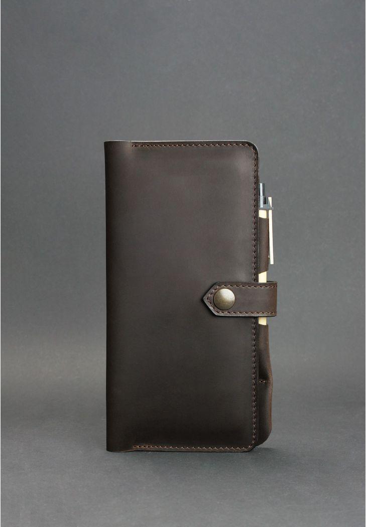 Тревел-кейс кожаный на кнопке с карманом для ручки. Цвет коричневый