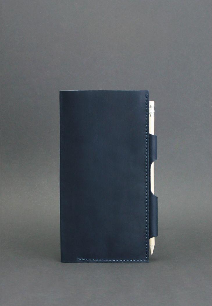 Тревел-кейс для документов кожаный с карманом для ручки. Цвет синий