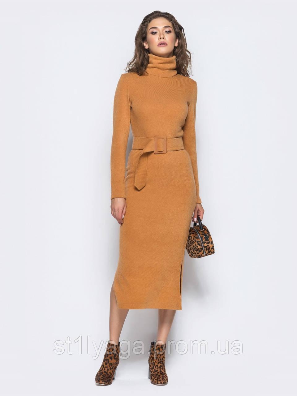 Приталенное платье-гольф  под горло с длинным рукавом и поясом в комплекте