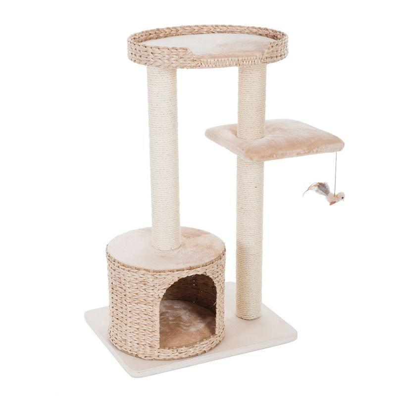 Игровой комплекс для котов Natural House XS с плетеным домиком из водного гиацинта