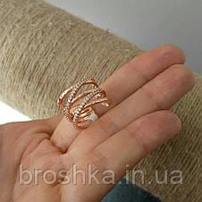 Широкое открытое позолоченное кольцо бижутерия, фото 2