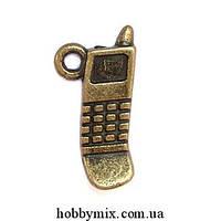 """Метал. подвеска """"мобильник"""" бронза (1х2 см) 12 шт в уп."""