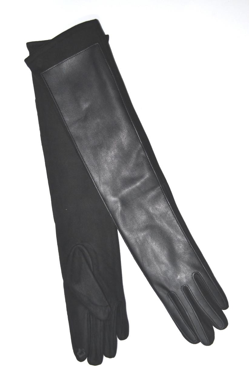 Довгі сенсорні рукавички шкіра/замш/фліс 50см оптом