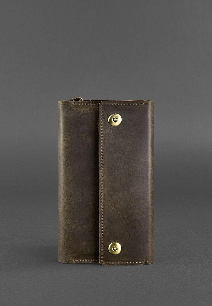 Шкіряний клатч-органайзер (тревел-кейс) на кнопках з ремінцем на руку. Колір коричневий