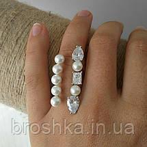 Широкое открытое кольцо с жемчугом и камнями Swarovski, фото 3