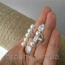 Широкое открытое кольцо с жемчугом и камнями Swarovski, фото 2