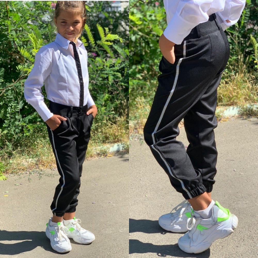 Брюки для девочки - модные джоггеры, с лампасами, синие и  черные, костюмка, фото в живую, качество супер!