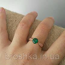 Позолоченное кольцо бижутерия с зелеными Swarovski, фото 2
