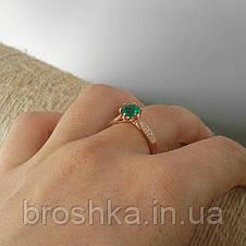 Позолоченное кольцо бижутерия с зелеными Swarovski, фото 3