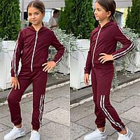 Костюм спортивный для девочки, стильный, с капюшоном, бордо и фрез, фото в живую, качество супер!