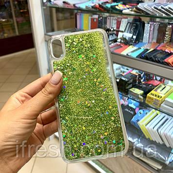 Чехол силиконовый с переливающимися блестками для iPhone XS/X, зелёный