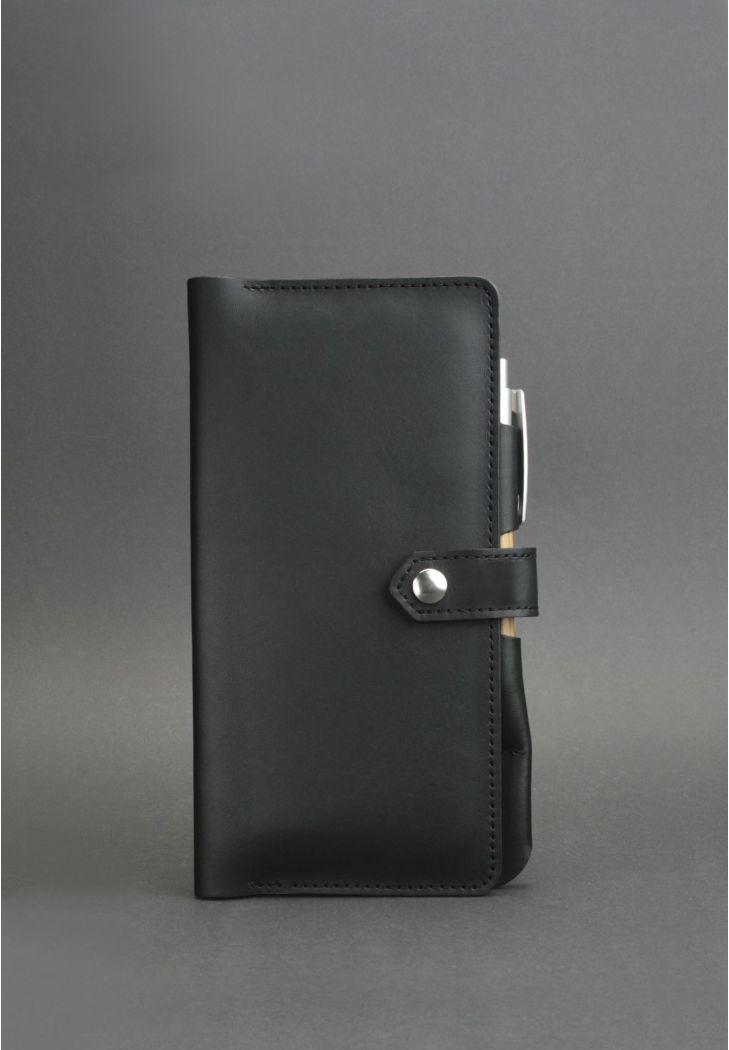 Тревел-кейс для документов кожаный на кнопке с карманом для ручки. Цвет черный