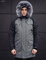 Парка мужская зимняя Staff Flash dark and gray длинная куртка серая нави