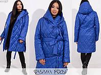 Стеганное пальто женское электрик на запах с двумя завязками и съемным поясом МБ/-1001, фото 1