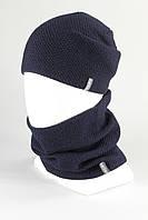 Комплект унисекс шапка бафф хомут KANTAA тем.синий