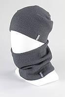 Комплект унисекс шапка бафф KANTAA серый