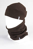 Набор шапка удлиненная + бафф снуд KANTAA коричневый