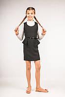Сарафан с баской детский для девочек школьного возраста, размеры 32, 34, 36, 38, 40, 42. (С-24)