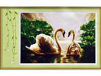Набор для изготовления картины со стразами 5D Лебеди Размер: 94*68 см Код 198255