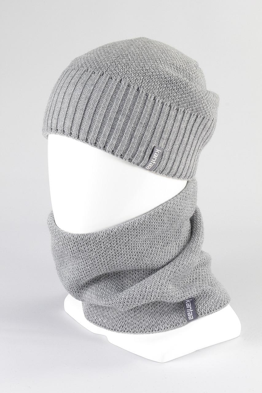 Женский набор шапка хомут зимний вязанный KANTAA оптом св.серый