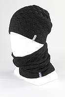 Вязанный набор шапка хомут KANTAA черный