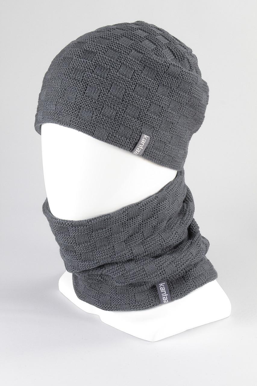 Комплект шапка бафф труба зимний KANTAA серый