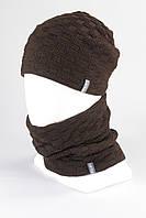 Набор шапка бини - бафф хомут KANTAA оптом  коричневый