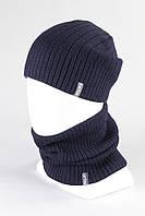 Набор зимний вязанный шапка снуд KANTAA тем.синий