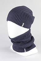 Набор шапка хомут вязанный KANTAA джинс