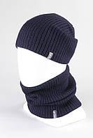 Комплект шапка + Бафф хомут KANTAA тем.синий