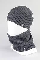 Набор шапка бафф хомут зимний на флисе KANTAA оптом серый