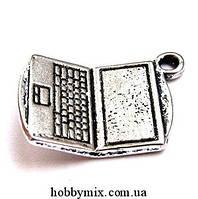 "Метал. подвеска ""ноутбук"" серебро (1,3х2 см) 5 шт в уп."
