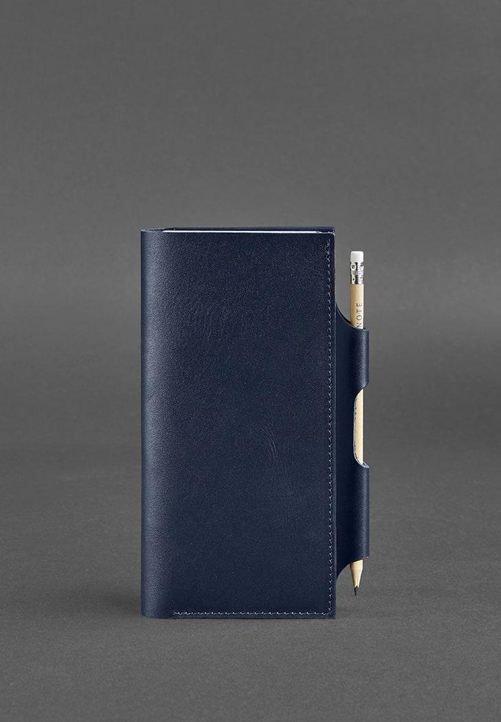 Кожаный тревел-кейс для документов с карманом для ручки. Цвет синий