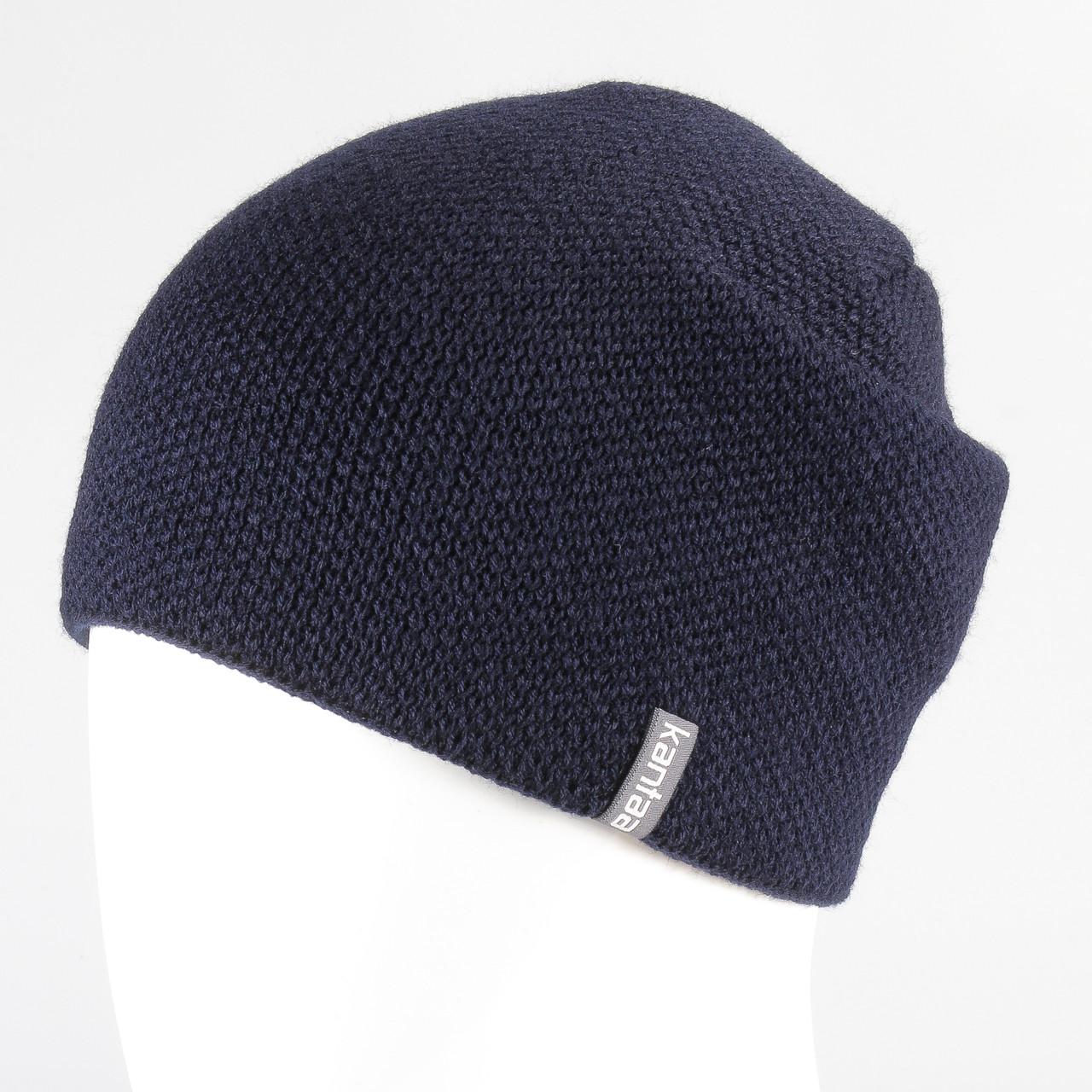 Мужская шапка тем.синий