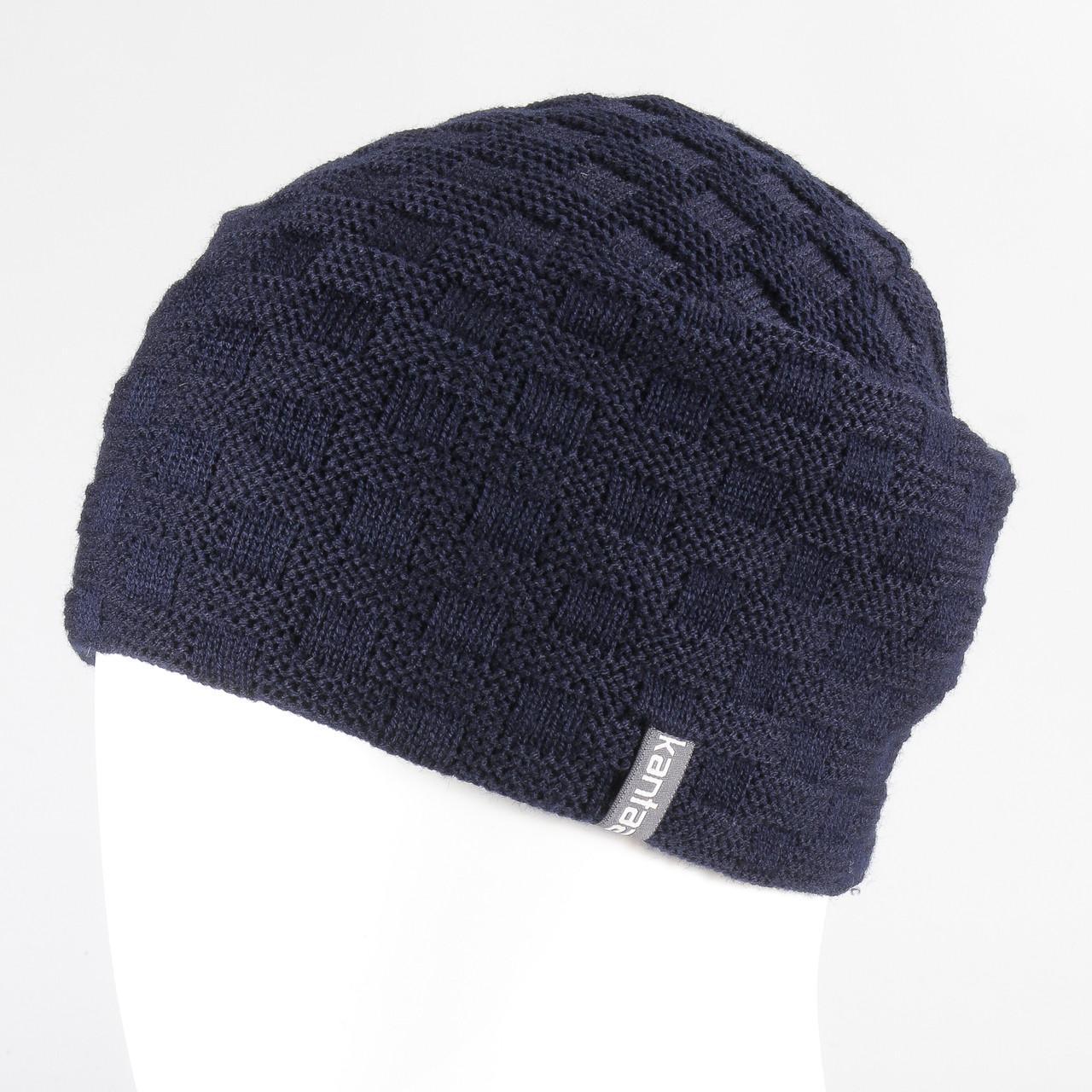 Вязанная шапка тем.синий