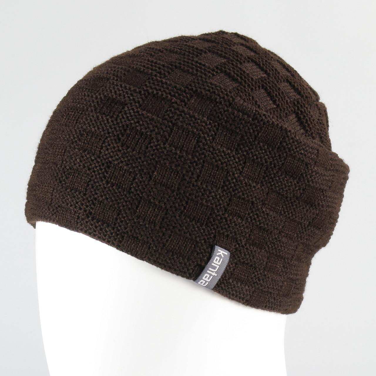 Вязанная шапка унисекс KANTAA коричневый