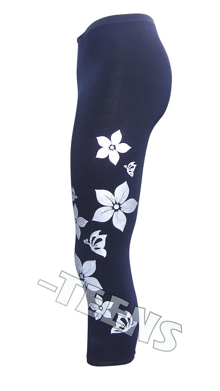 Летние лосины с цветами короткие